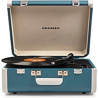 Виниловый проигрыватель CROSLEY PORTFOLIO PORTABLE Turquoise & White c Bluetooth